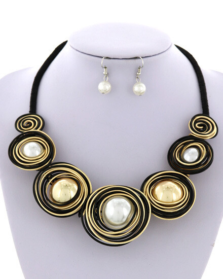 Black Cord Hand Wired Faux Large Pearl Set
