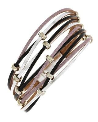Black Pink Silver Multi Strap Magnetic Bracelet