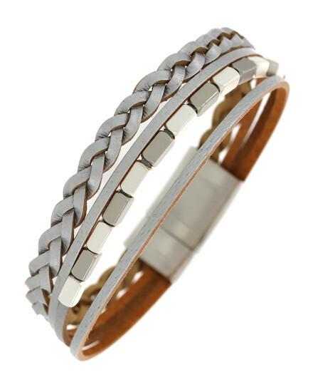 Multi Strand Leatherette Band Magnetic Bracelet