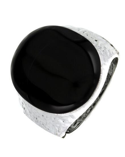 Silver Black Stone Hammered Acrylic Cuff Bracelet