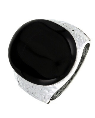 Silver Black Stone Hammered Acrylic Cuff Bracelet