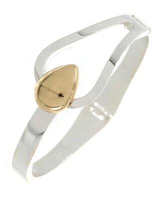 Silver Gold Oval Flap Hinge Bracelet