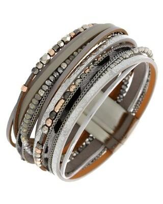 Black Gold Grey Multi Seed Beads Magnetic Bracelet