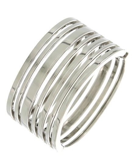 Silver Tone Open Bar Fold Over Bracelet