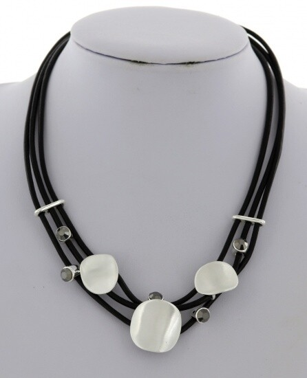 Cord Multi Strand Necklace Burnished Silver Discs