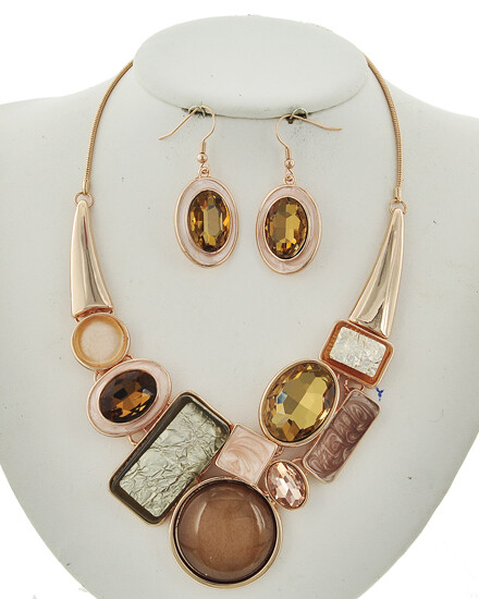 Rose Gold Multi Stone Statement Necklace Set