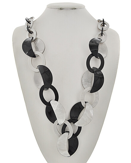 Grey Black Acrylic Long Necklace