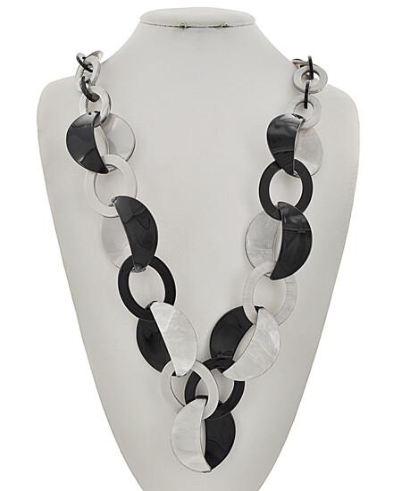Grey Black Acrylic Long Necklace
