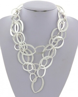 Silver Stippled Multi Ring Lightweight Necklace