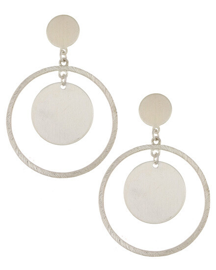 Burnished Silver Ring Drop Earring