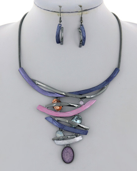 Hematite Purple Pink Multi Colored Statement Necklace Set