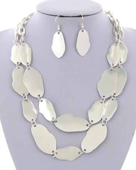Matte Silver Disc Multi Strand Necklace Set