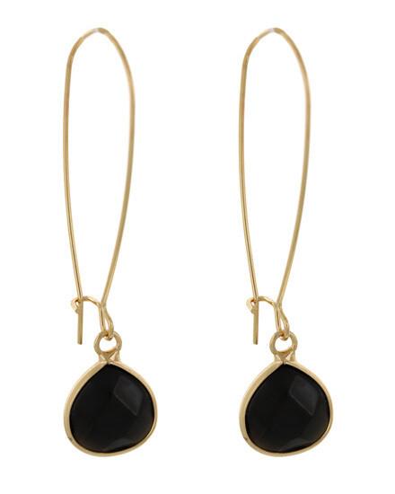 Black Acrylic Gold Dangle Earring Set