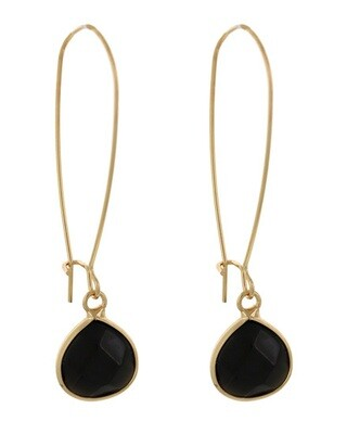 Black Acrylic Gold Dangle Earring Set