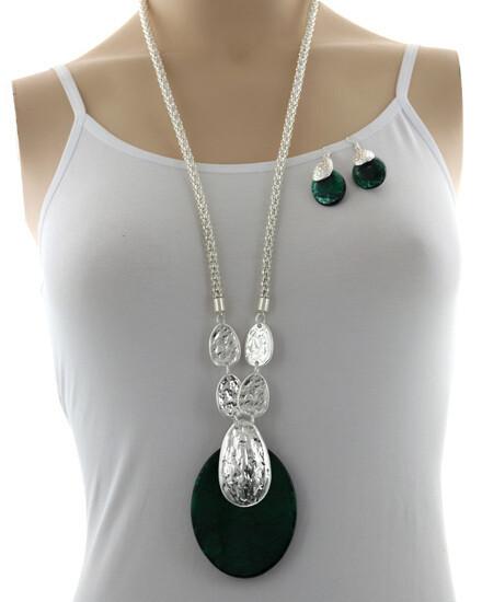Silver Long Green Large Pendant Necklace Set