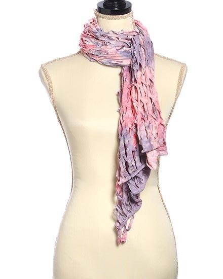 Pink Purple Net Tie Dye Oblong Scarf
