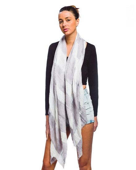 Lavender Grey Tie Dye Oblong Scarf