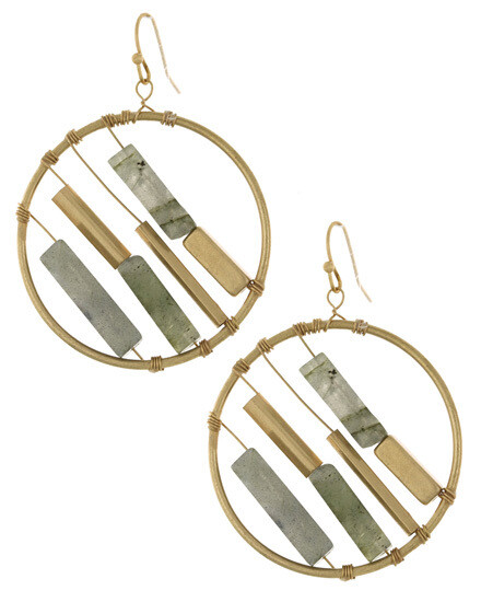 Gold Open Ring Unique Dangle Earring