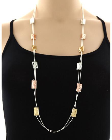 Silver Tri-Tone Double Strand Necklace