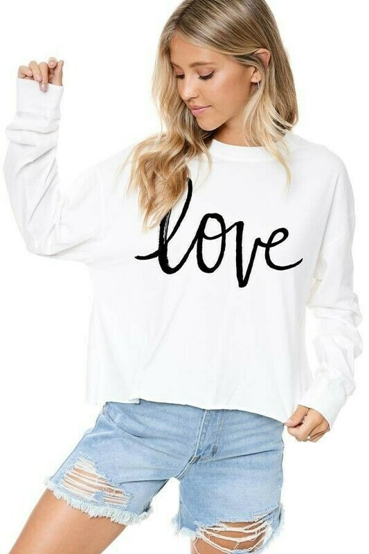 Graphic Love Raw Edge Crop Top