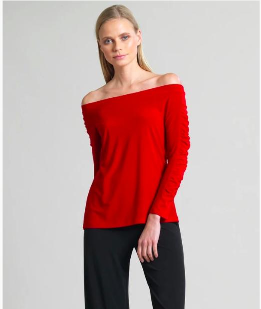 Red Off Shoulder Ruched Sleeve Top
