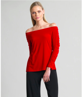 Red Off Shoulder Ruched Sleeve Top