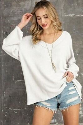 Cashmere Feel Rib V Neck Relaxed Fit Lounge Top