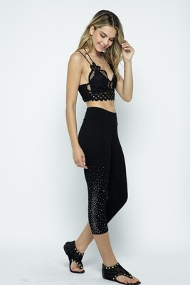 Black Leggings With Silver Stone Accents On Side