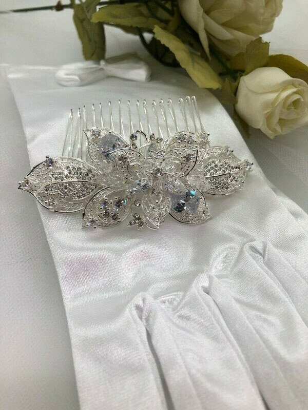 Silver Plated Lace Leaves/Crystal Hair Comb