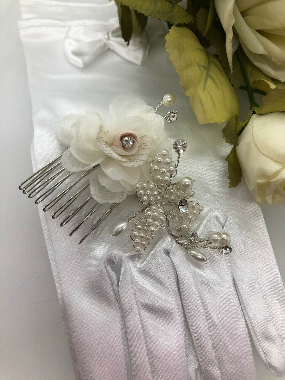 Fabric Rose Pearl Leaf Crystal Hair Comb