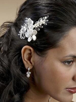 Keshi Pearl/Swarovski Crystal Hair Comb