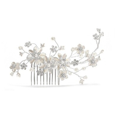 Brushed Silver Ivory Pearl Floral Hair Comb