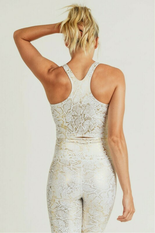 Gold Snake Print Racerback Active Cropped Top