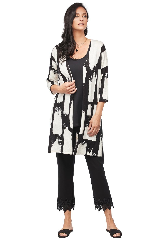 Black/White Lightweight Knit Cardigan
