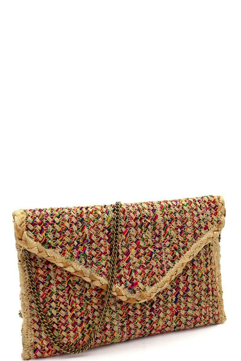 Handmade Heavy Woven Straw Boho Clutch