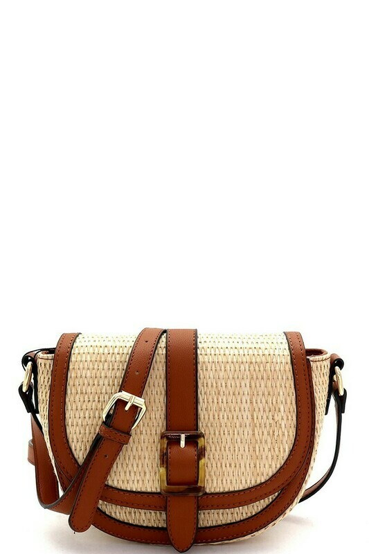 Woven Straw Buckle Saddle Shoulder Bag