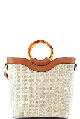 Resin Handle Accent Bamboo Straw 2-Way Satchel