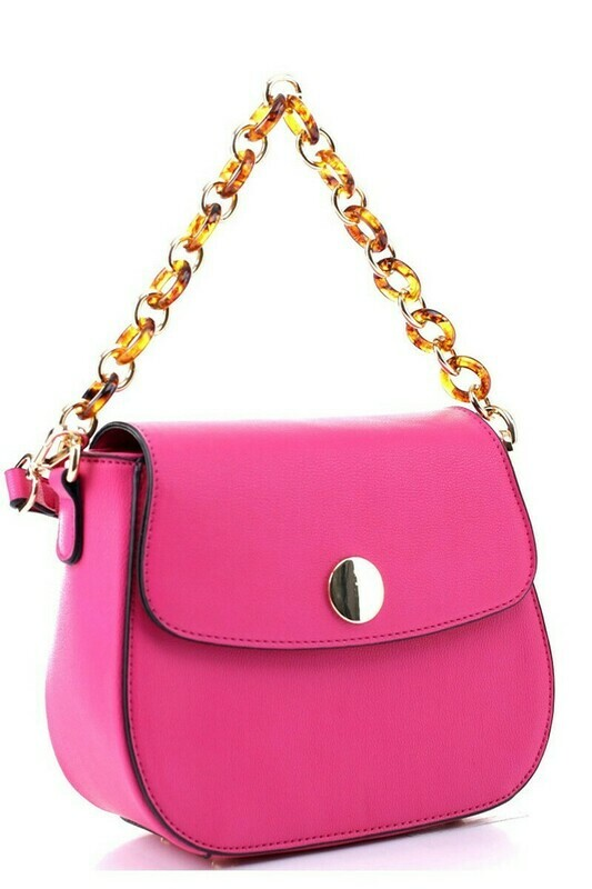 Linked Chain Strap 2-Way Medium Flap Satchel