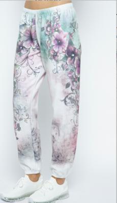 White Floral Lounge Pants