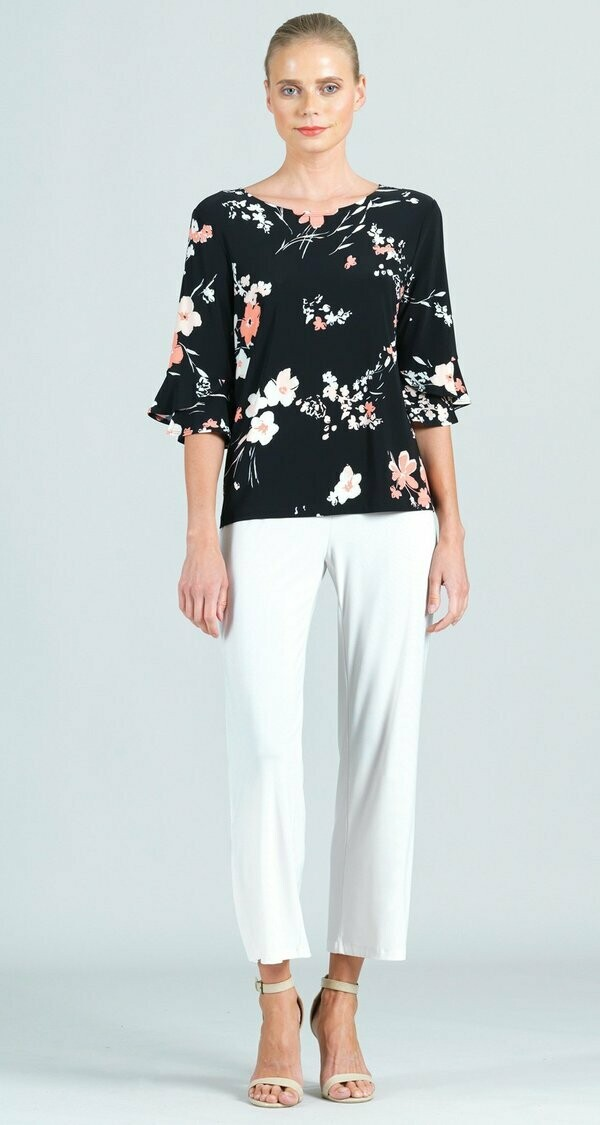 Reversible Floral Print Back Tie Tulip Cuff Top