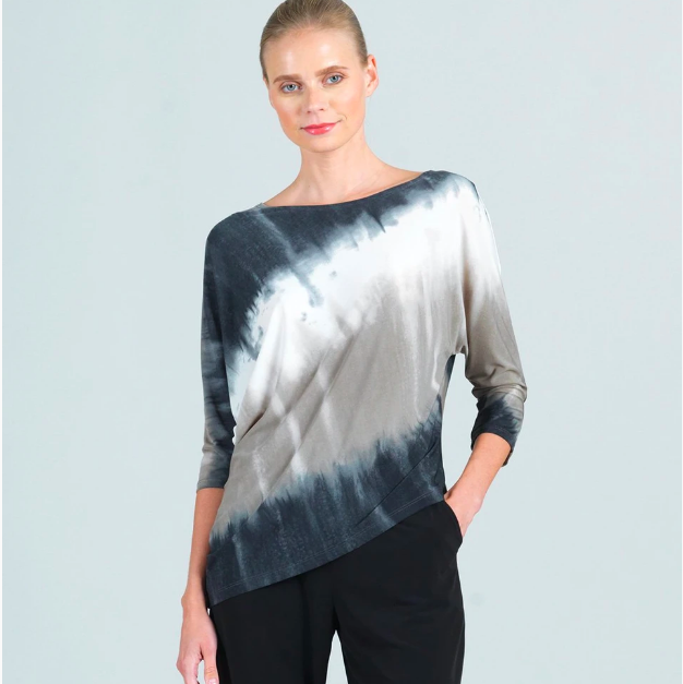 Ombre Print Dolman Sleeve Angle Hem Top