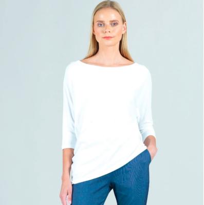 Modal Cotton Knit Dolman Sleeve Angle Hem Top