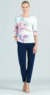 Floral Print Mesh Knit Back Tie Tulip Cuff Top