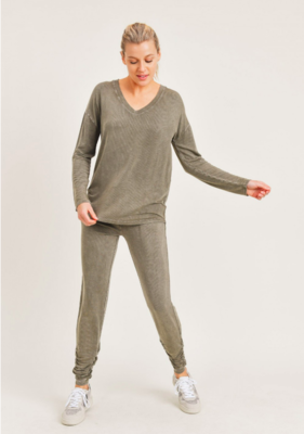 Mineral Wash Joggers with Shirred Ankles