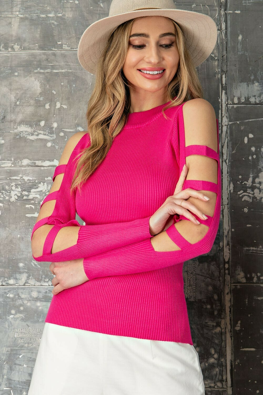 Hot Pink Ribbed Knit Cutout Shoulder Sweater