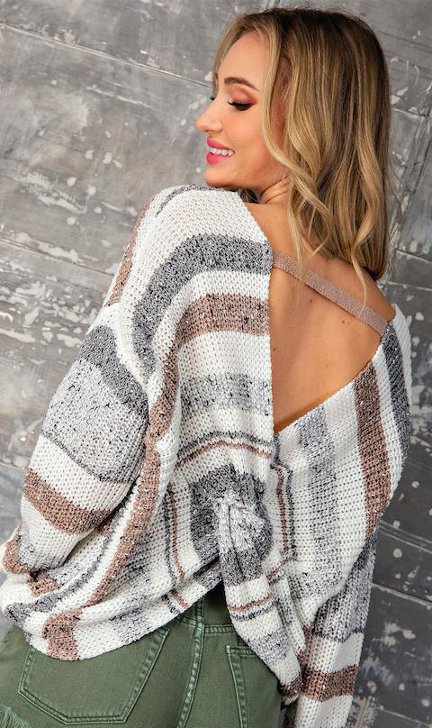 Open Twist Back Striped Light Weight Sweater