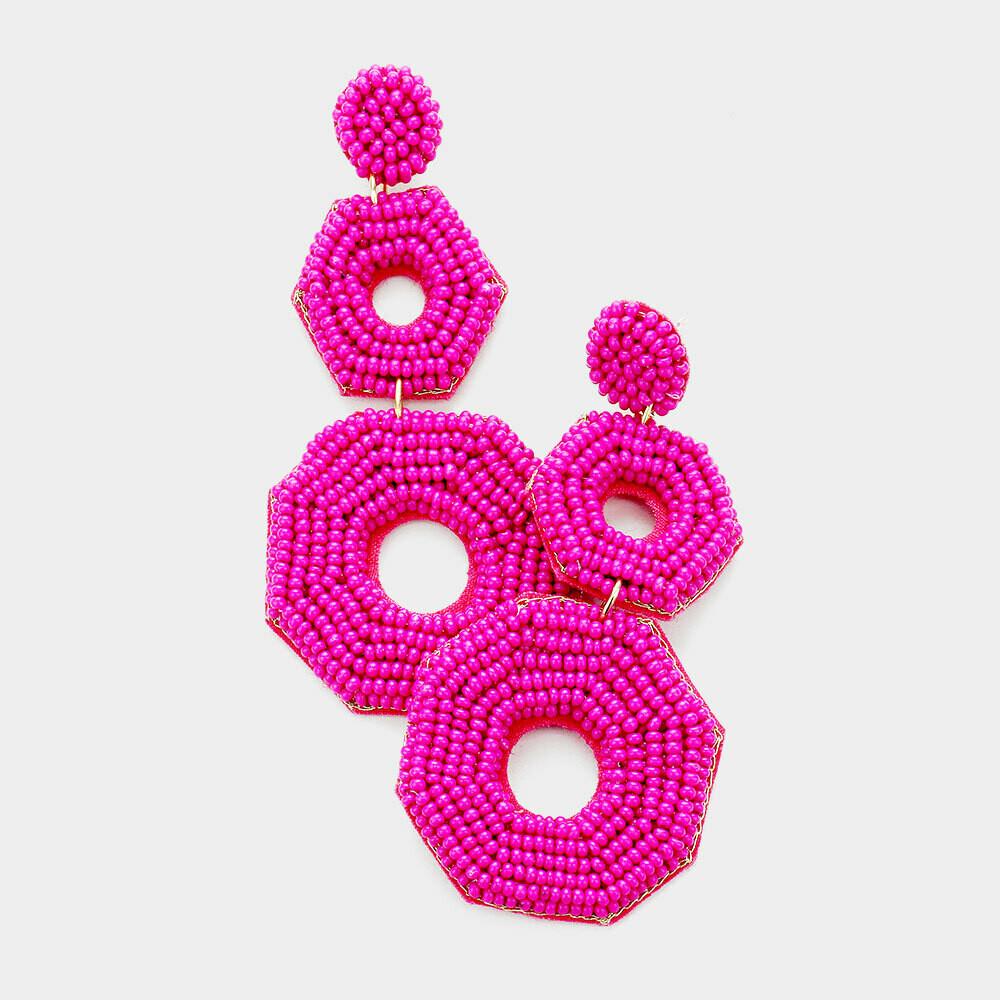 Felt Back Seed Beaded Octagon Link Dangle Earrings
