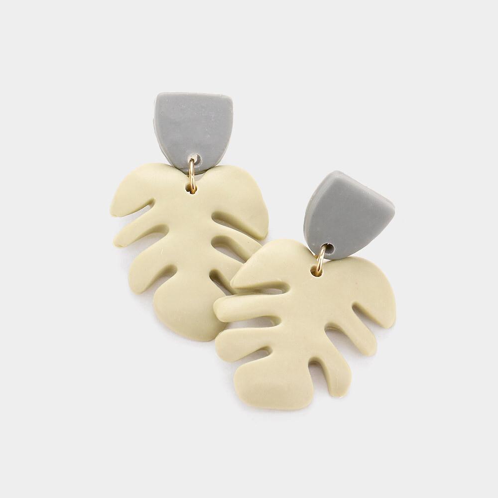 Clay Tropical Leaf Dangle Earrings
