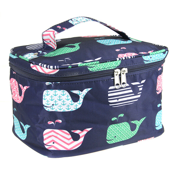 Navy Whale Print Makeup Bag
