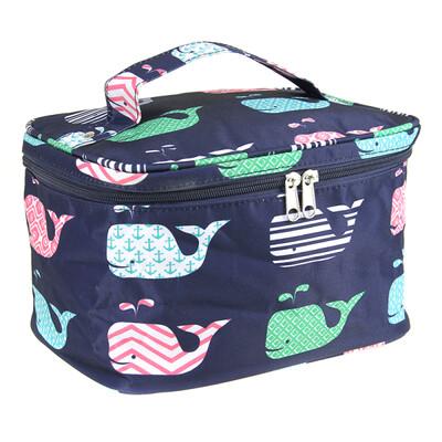 Navy Whale Print Makeup Bag